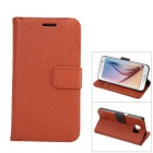 MO.MAT Luxury PU Leather Flip-open Wallet Case for Samsung Galaxy S6 - Brown