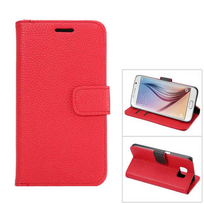 Luxury PU Flip-Open Wallet Case for Samsung Galaxy S6 - Red
