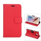 MO.MAT Luxury PU Leather Flip-Open Wallet Case for Samsung Galaxy S6 - Red