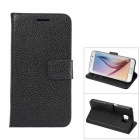 MO.MAT Luxury PU Leather Flip-Open Wallet Case for Samsung Galaxy S6 - Black