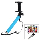 Mini Retractable Selfie Monopod w/ Adjustable Mount Holder + 3.5mm Plug Cable for Phones - Blue