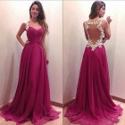 Stylish Transparent Back Lace + Chiffon Deep V-Neck Slip Long Dress - Deep Pink (L)