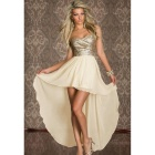 Women's Fashionable Strapless Irregular Evening Dress - Beige + Golden (L)