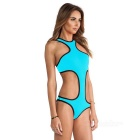 Stylish Hollow-Out Polyester One-Piece Bikini Swimsuit Swimwear - Blue (Size M)