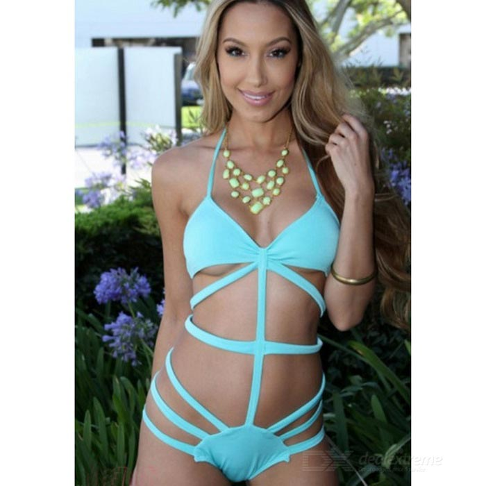 Women's Sexy Strapped Halter One-Piece Bikini Swimsuit - Blue (M)