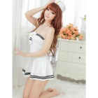 Sailor Role Play Ultra-Sexy Uniforms Temptation Dress Nightwear w/ Cap - White + Black