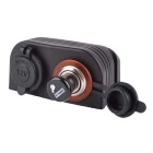 Waterproof Motorcycle Car Cigarette Lighter Socket Power Plug - Black (12~24V)