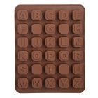 DIY 26 English Letters Shaped + 4-Space Grid Silicone Chocolate / Snack Mold - Chocolate