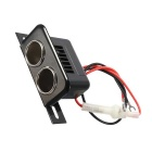 12V Motorcycle Car Dual Cigarette Lighter Power Adapter - Black