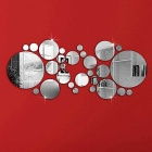Circular Modern Mirror Wall Sticker Decal DIY Home Decor - Silver