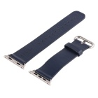ROCK Genuine Leather Buckle Watch Strap Wristband w/ Holder for Apple Watch 42mm - Navy Blue