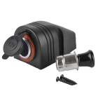 12/24V Water Resistant Motorcycle Automatic Cigarette Lighter - Black