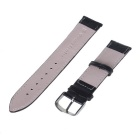 22mm Durable Pin Buckle Adjustable PU Watch Band Strap - Black