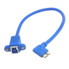 CY USB 3.0 Type B Female to 90 Degree Micro B Male 10pin Cable w/ Mount Screw Holes - Blue (20cm)
