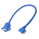 CY USB 3.0 Type B to 90' Micro B Cable w/ Screw Holes - Blue (20cm)