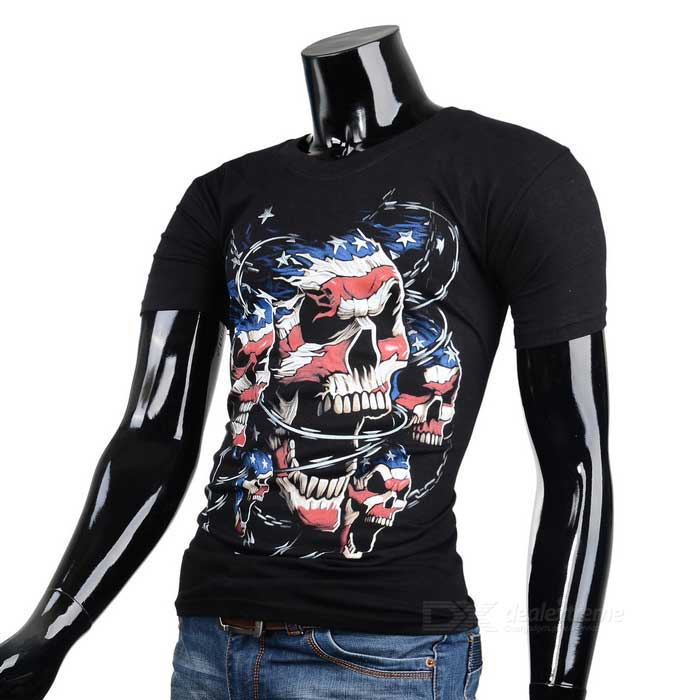 Pirate Skull Mønster Pure Cotton T - Shirt - Svart (størrelse M)