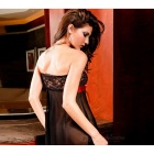 Women's Bowknot Strapless Lace Lingerie Nightdress Sleepwear - Black