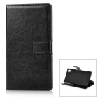 Protective PU + PC Leather Flip Open Case w/ Card Slots for Sony Z4 - Black