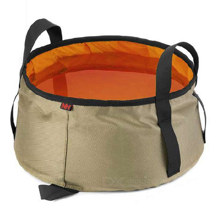 NatureHike Travel Folding Water Container Bucket Washbowl - OrangeForm  ColorKhaki + orange Quantity1 DX.PCM.Model.AttributeModel.UnitMaterial160D oxford cloth + 20D water resistant silicone materialCapacity6~10LTypeOthers,Folding washbowlPacking List1 x Washbowl<br>