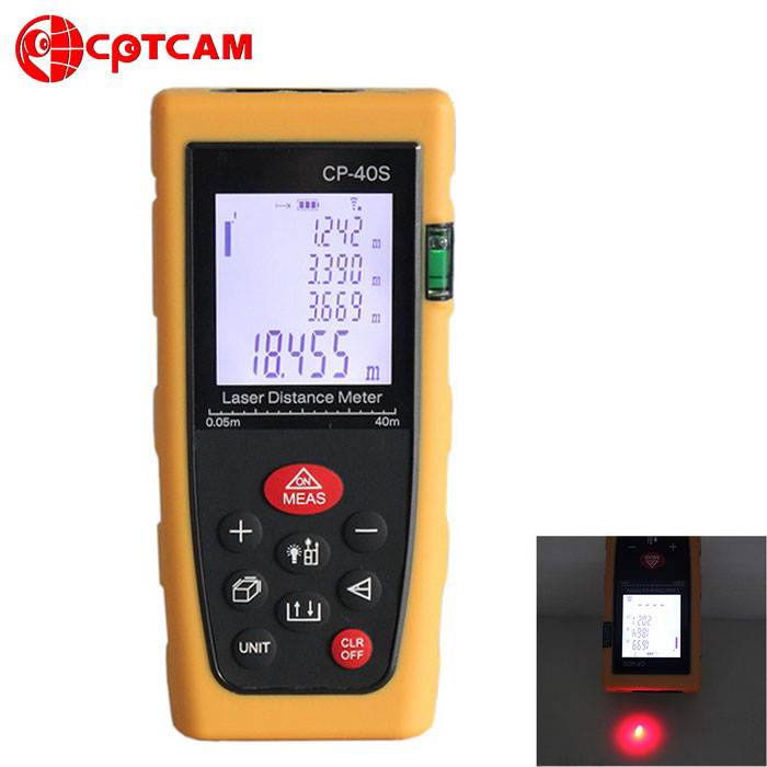 CPTCAM CP-40S Portable 1.8 40m Laser Rangefinder Distance MeterLaser Rangefinder, Electronic Distance Meter<br>Form  ColorYellowModelCP-40SQuantity1 DX.PCM.Model.AttributeModel.UnitMaterialABSDetection Range0.05~40mMeasuring Accuracy+/-1.5mmLaser Level2 (365nm)Display1.8Powered ByAAA BatteryBattery included or notNoPacking List1 x Laser rangefinder (2 x AAA batteries, not included)<br>
