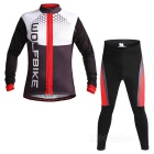 WOLFBIKE Men's Polyester + Spandex Warm Long Jersey + Pants Outdoor Cycling Suit - Black + Red (L)