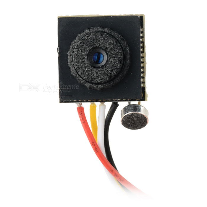 "1/3 ""CMOS 6mm objektiivi 2.0MP 600TVL HD FPV mini-kamera - musta (PAL)"