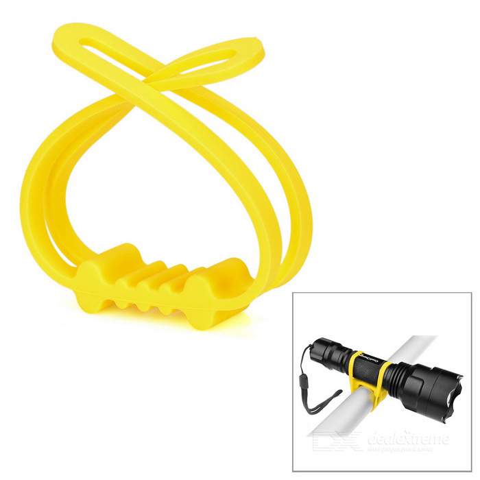 Universal Bicycle Silicone Holding Strap for Bike Light - Yellow