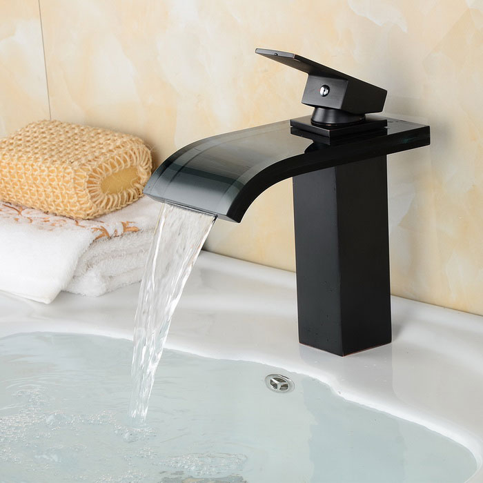 Oil-rubbed Bronze Single Handle Waterfall Bathroom Sink Faucet - BlackBath Faucets<br>Form ColorBlackModelYDL-F-0626MaterialBrass + glassQuantity1 DX.PCM.Model.AttributeModel.UnitFinishOthers,ORBFaucet Spout MaterialGlassFaucet Body MaterialBrassFaucet Handle MaterialZinc AlloyStyleContemporaryPacking List1 x Faucet2 x Hoses (50cm)2 x Threaded rods1 x Sealing ring2 x Horseshoe pieces<br>