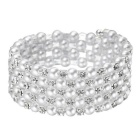 eQute Spiral Wound Style Elastic Artificial Diamond Pearl Bracelet - White