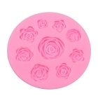 Rose Style 9-Cup DIY Bakeware Silicone Baking Mold for Fondant Candy Chocolate Cake - Pink