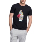 Fanny Poker Man Pattern Crew Neck Short-sleeved Cotton T-Shirt Tee - Black (Size XL)
