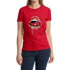 Women's Sexy Red Lips 100% Cotton Short Sleeves Crew Neck T-Shirt Tee - Red (Size M)