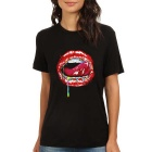 Women's Sexy Red Lips 100% Cotton Short Sleeves Crew Neck T-Shirt Tee - Black (Size M)