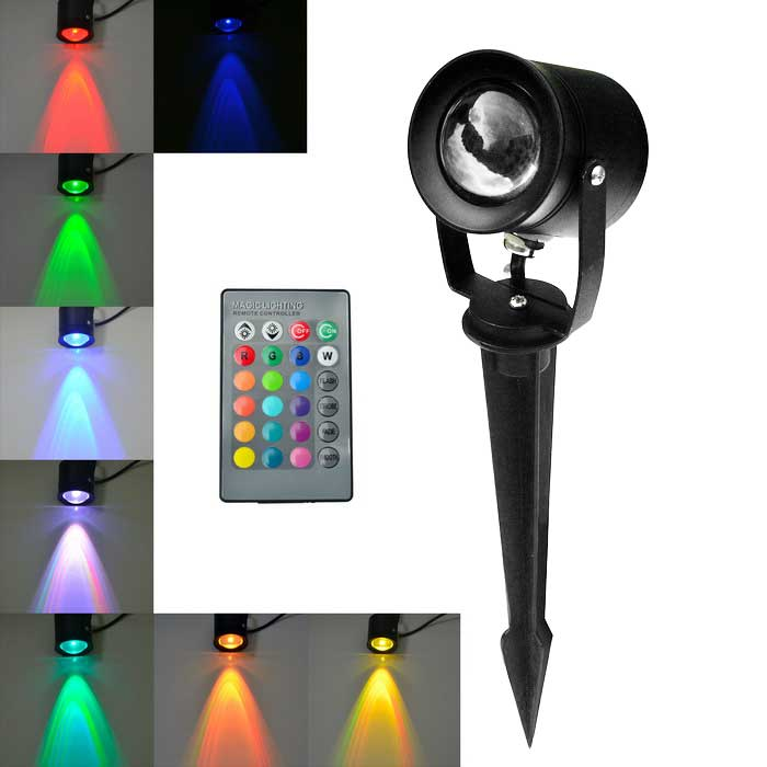 10W 800lm Colorful Light LED Insert Lawn Lamp - Black (AC 85~265V)