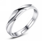 eQute Fashionable Wave Design Adjustable Silver Plated Ring for Men - Silver (US Size: 7.5)