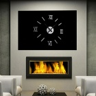 Acrylic Roman Numerals Wall Clock Adhesive Decal Sticker Art DIY Home Decor - Silver + Black