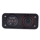 Waterproof Car Charger 12V/24V Cigarette Lighter + Voltmeter - Black