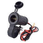 12/24V Water Resistant Motorcycle Handlebar Mounted Cigarette Lighter Socket - Black