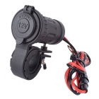 12/24V Water Resistant Motorcycle Cigarette Lighter Socket - Black