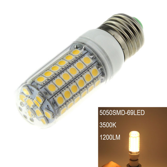 E27 18W LED Corn Lamp Warm White 3000K 1200lm SMD 5050 - WhiteE27<br>Form  ColorWhiteColor BINWarm WhiteMaterialPlastic + aluminumQuantity1 DX.PCM.Model.AttributeModel.UnitPowerOthers,18WRated VoltageAC 220-240 DX.PCM.Model.AttributeModel.UnitConnector TypeE27Chip Type5050Emitter Type5050 SMD LEDTotal Emitters69Theoretical Lumens1500 DX.PCM.Model.AttributeModel.UnitActual Lumens1200 DX.PCM.Model.AttributeModel.UnitColor Temperature3000KDimmableNoBeam Angle360 DX.PCM.Model.AttributeModel.UnitCertificationCEPacking List1 x LED corn light<br>