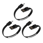 Micro USB 2.0 Data Sync Charging Wrist Bracelet Style Cables - Black (3PCS)
