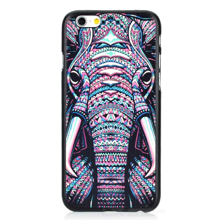 Fashion Elephant Painted Back Case for IPHONE 6 - Black + Multicolor