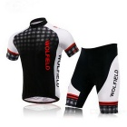WOLFBIKE BC412 Men's Summer Moisture-Wicking Short Cycling Jersey Suit - Black + White (Size M)