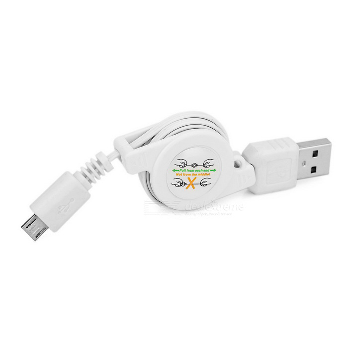 Sincronización los datos retractil Micro USB a USB 2.0. Y carga Cable - blanco