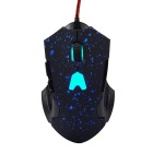 6-Keys Bright Light Wired Gaming Mouse for Game Athletics - Black