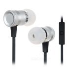 Universal 3.5mm Plug In-Ear Wired Earphones w/ Mic & Wire Control - Black + Silver