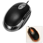 USB 2.0 Wired Optical 800dpi Mouse for Desktop / Laptop Computer - Black + Transparent