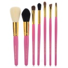 7-in-1 Portable Professional Cosmetic Makeup Brushes Set - Deep Pink