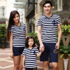 Striped Short-Sleeve Cotton + Spandex T-Shirt Parent-Child Clothing Family Suit - White + Blue