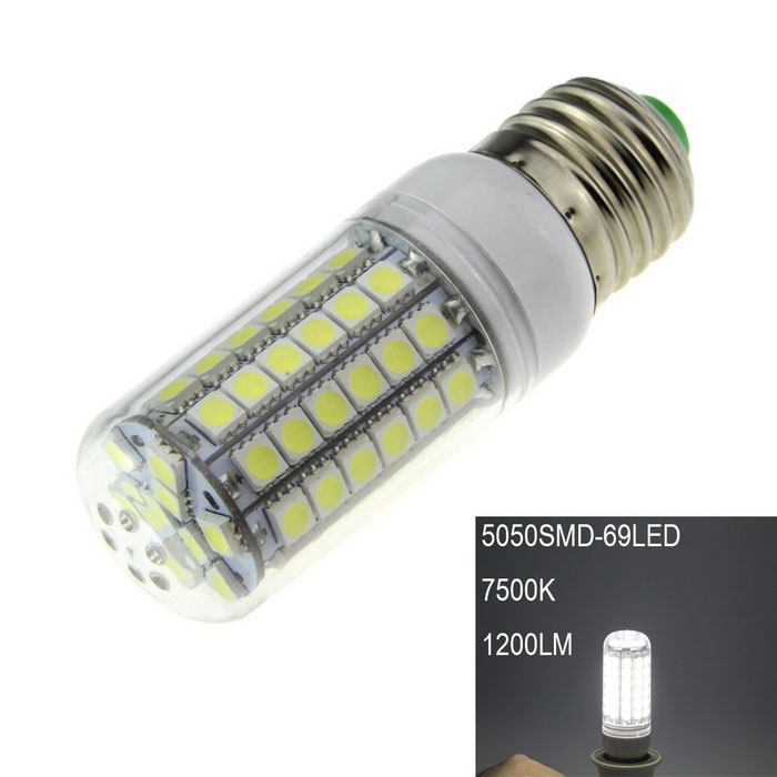 E27 18W LED Corn Lamp Bluish White 1200lm SMD 5050 (220~240V)E27<br>Form  ColorWhiteColor BINBluish WhiteMaterialPlastic + aluminumQuantity1 DX.PCM.Model.AttributeModel.UnitPowerOthers,18WRated VoltageAC 220-240 DX.PCM.Model.AttributeModel.UnitConnector TypeE27Chip Type5050Emitter Type5050 SMD LEDTotal Emitters69Theoretical Lumens1500 DX.PCM.Model.AttributeModel.UnitActual Lumens1200 DX.PCM.Model.AttributeModel.UnitColor Temperature7500KDimmableNoBeam Angle360 DX.PCM.Model.AttributeModel.UnitCertificationCEPacking List1 x LED corn light<br>